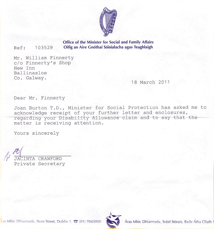 Mortgage Protection Letter Template: Registered Letter To Social Welfare Services Office